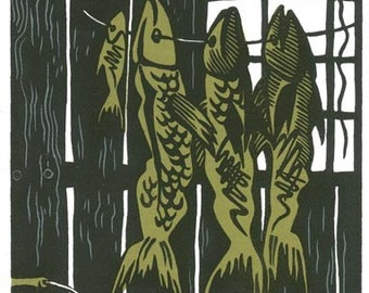THE DRY SHED linocut