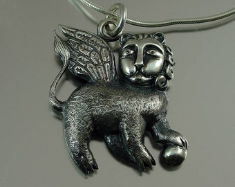 WINGED LION designer silver pendant - ready to ship
