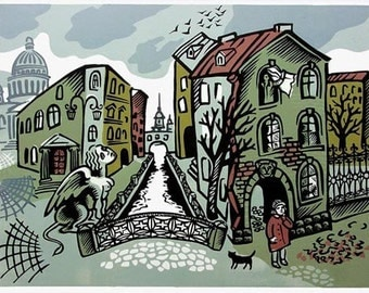 Along the Bridges and Canals linocut