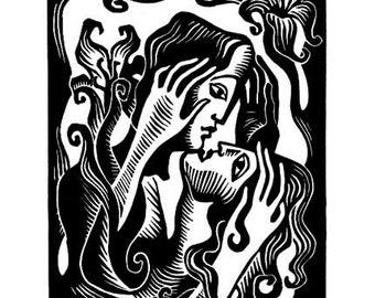 PASSION III art nouveau linocut
