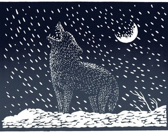 A LONELY COYOTE linocut by Lev