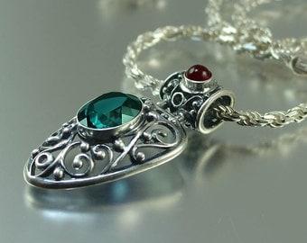 London Blue Topaz silver pendant GERTRUDE