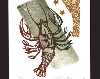 Zodiac Crab / Cancer Astrology linocut greeting card
