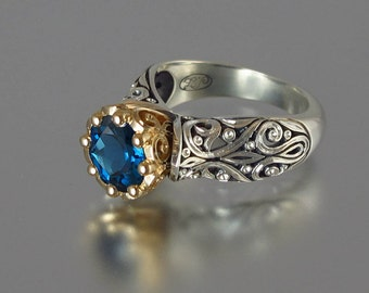 The ENCHANTED PRINCESS engagement 14k gold ring with London Blue Topaz