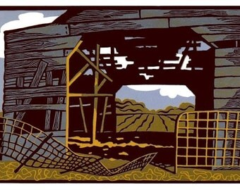 WEATHERED BARN linocut