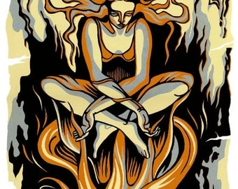 PROPHECY reduction linocut by Natalia Moroz