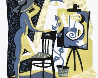 NUDE UNDER the LAMP linocut