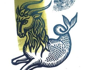 CAPRICORN Zodiac (Dec. 22 - Jan. 19) linocut birthday card small original artwork