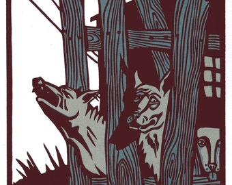 BEHIND THE FENCE linocut