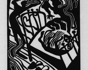 THE METAMORPHOSIS linocut illustration to Franz Kafka by Natalia Moroz