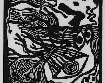CUT DOWN TREES linocut illustration to F. Kafka