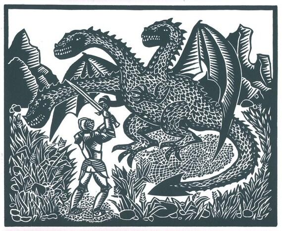 FIGHTING A DRAGON linocut by Lev