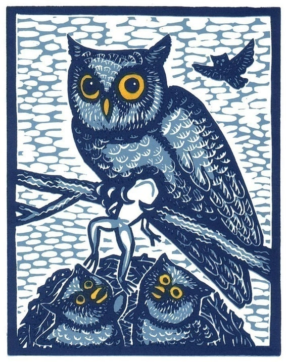 Great Horned Owls Nest II linocut by Lev