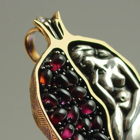 POMEGRANATE silver and bronze garnet pendant RESERVED for Jenny - 1st payment