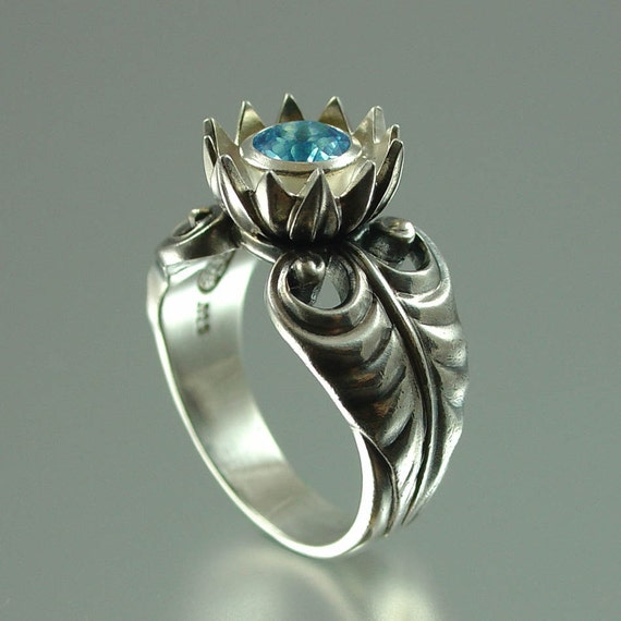 BLUE LOTUS silver ring with Blue Topaz