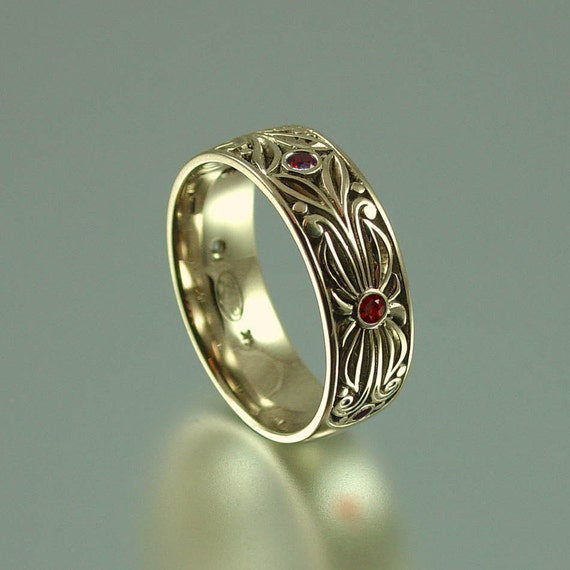 The RED COUNT 14k yellow gold with garnet accents band RESERVED for Melanie