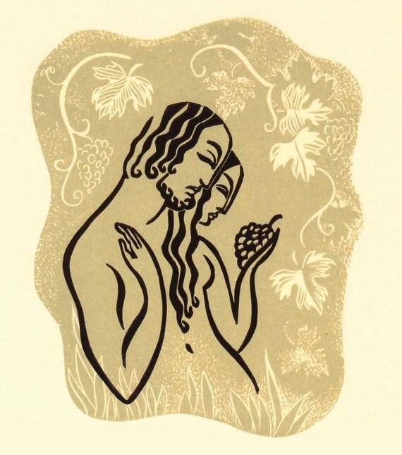 WINE OF LOVE linocut Song of Songs illustration