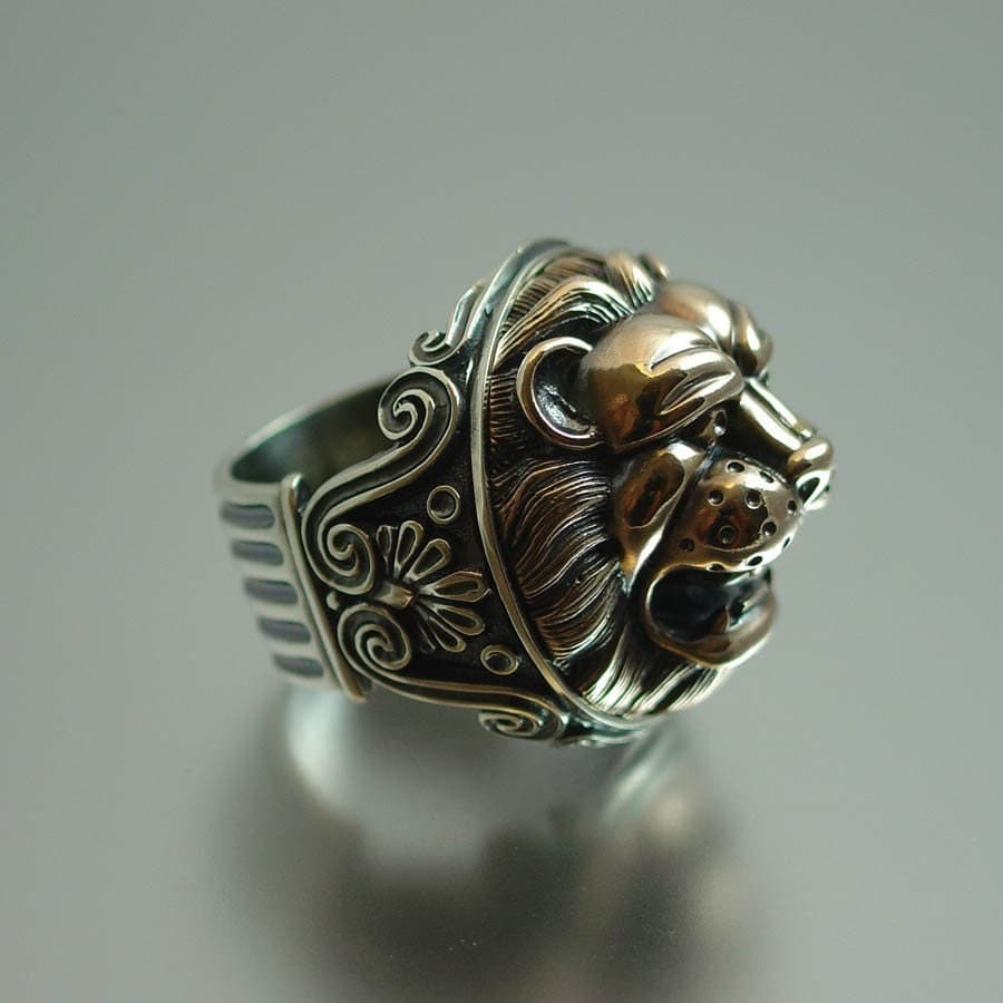 Lion S Head Silver And Bronze Ring