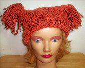 Rhymes with Door Hinge - crocheted pom pom hat