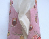 tissue cozy - pink owls by tuttifruiti