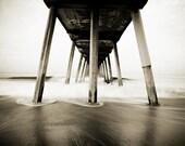 Hermosa Pier Photography, Beach Wall Art, Pacific Ocean Photography, Long-Exposure Photography, Sepia Landscape, Nature Print, California