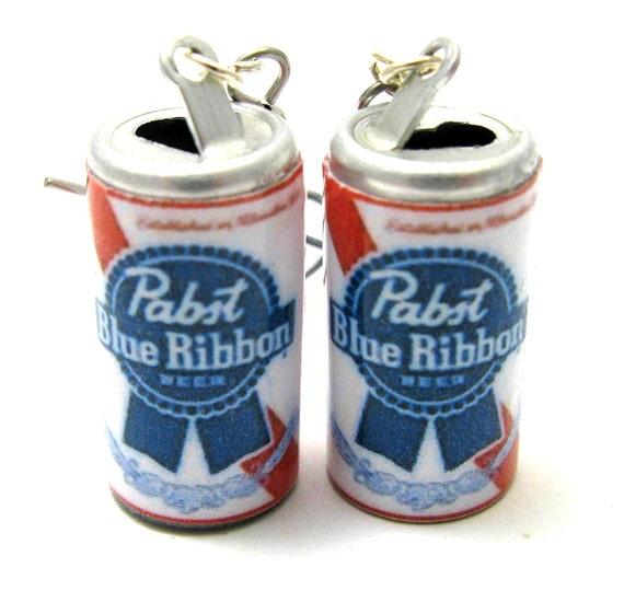 Pabst Blue Ribbon Beer Earrings on surgical stainless steel hooks