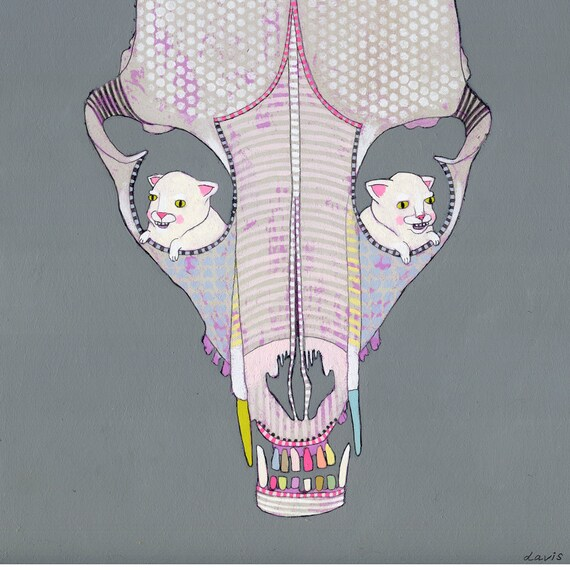 art - original painting- skull with kittens