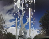 SALE, Moon Dance, Glass Sculpture, Stained Glass, Wind Chime, Mobile, Wall Hanging