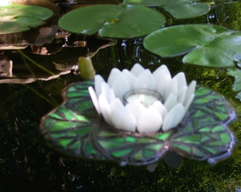 "Water Lily Candle Holder, Floating Stained Glass Mosaic Sculpture for Water Gardens, Outdoor Rooms, Home Decor,Pond, ""Reflections of Summer"""