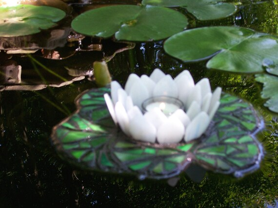 """Water Lily Candle Holder, Floating Stained Glass Mosaic Sculpture for Water Gardens, Outdoor Rooms, Home Decor,Pond, """"Reflections of Summer"""""""