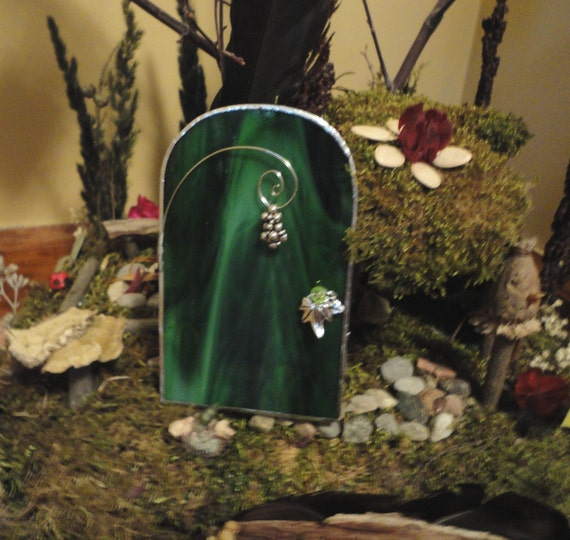 Sale fairy door green stained glass by jewelsinthegarden for Fairy doors for sale