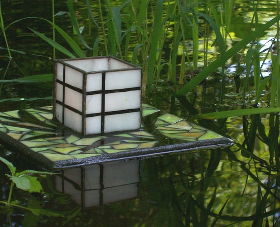Japanese Floating Lantern, Garden Sculpture, Stained Glass Mosaic, Shoji Candle Holder, Art for Water Gardens, Outdoor Rooms, Home Decor