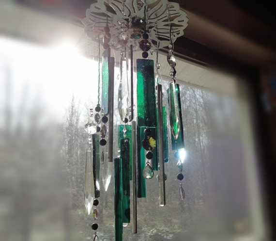 The Emerald City, Stained Glass Windchimes, Mobile, Wall Hanging