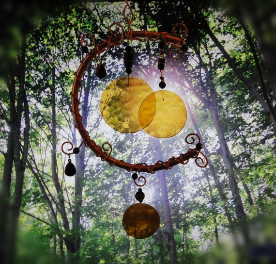 Harvest Moon, Amber Stained Glass Windchime, Mobile, Wall Hanging