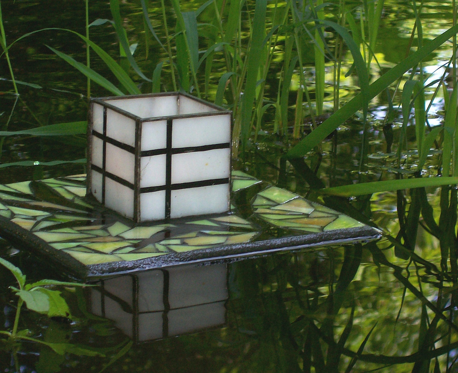 Japanese Floating Lantern Garden Sculpture Stained Glass