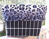 Grey and Black Leopard Print Faux Fur Bike/Bicycle Basket Case (Basket Liner) Converts to Backpack