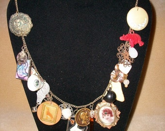 Fabulous Vintage Conceptual Collage Necklace / Steampunk/Antique Charms / Naas Art