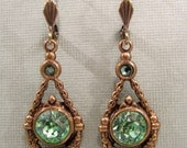 Fairy Forest Treasure vintage gold and antique green crystal