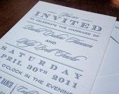 Vintage Type Letterpress Wedding Invitation Sample