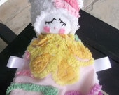Fun Vintage Floral Chenille Lovey Doll
