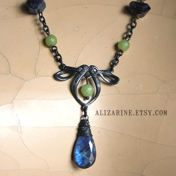Eventide -- Black brass necklace with Jade and Spectrolite