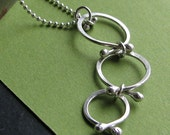 Persie Necklace: Sterling Silver Handcrafted Three Link Dangling Pendant