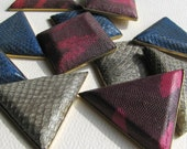 Vintage Snakeskin-Covered Square and Triangle Shapes Supplies for Your Crafts