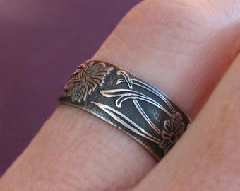 Art Nouveau Ring: Sterling Silver Oxidized Patterned Nouveau Deco Band Made to Order in Your Size