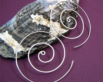 Large Spiral: Sterling Silver Non-Gauged Lightly Hammered Swirl Earwire Earrings