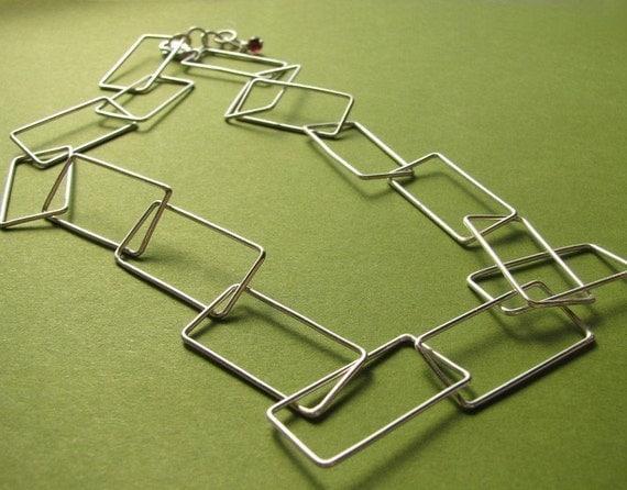 Rectangulation: Sterling Silver Handcrafted Rectangular Link Choker Necklace