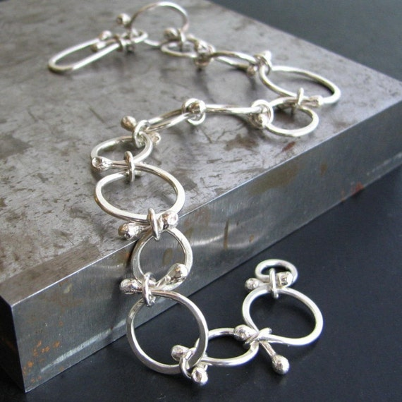 Persie Bracelet: Sterling Silver Handcrafted Round Links