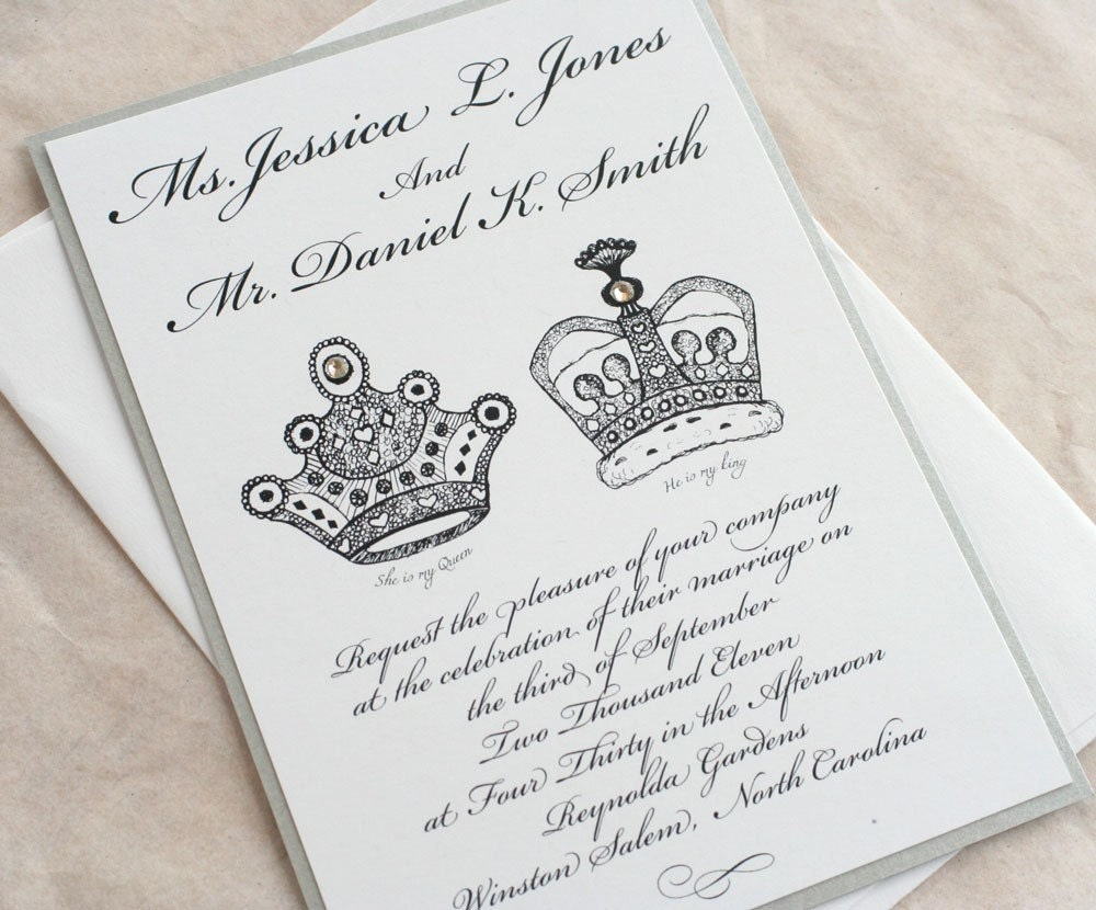 King And Queen Wedding Invitations / Royal By Vreelanddesign