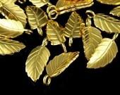 KG-122 thai karen hill tribe silver 5 gold vermeil leaf charm
