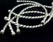 KS-040 thai akren hill tribe silver 1 long twist curved tube bead